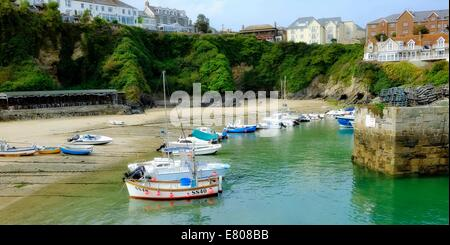 Boats in Newquay harbour Cornwall England uk - Stock Photo