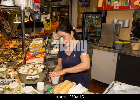 Vietnamese-American, Vietnamese-American woman, Vietnamese restaurant, food court, Asian Garden Mall, city of Westminster, - Stock Photo