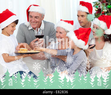 Composite image of smiling family - Stock Photo