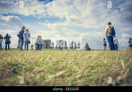 United Kingdom, England, Wiltshire, Stonehenge, Tourists - Stock Photo