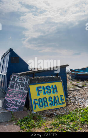 Fresh fish for sale sign in aldeburgh suffolk uk stock for Stock fish for sale