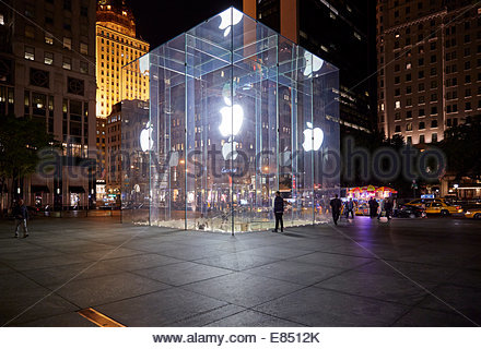 The famous glass cube Apple Store on 5th Ave. near Central ...