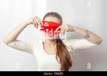 beautiful girl with pepper organic food  concept - Stock Photo