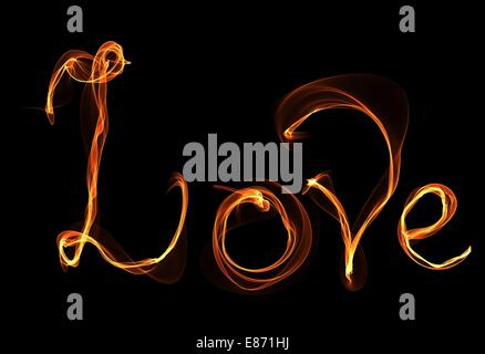 Word love in fire illustration - Stock Photo