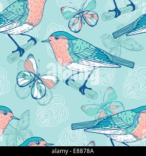 vector   seamless pattern with birds and butterflies - Stock Photo