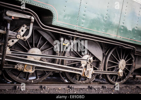 Historic steam locomotive 'Pacific PLM 231 K 8' of 'Paimpol-Pontrieux' train Brittany France - Stock Photo