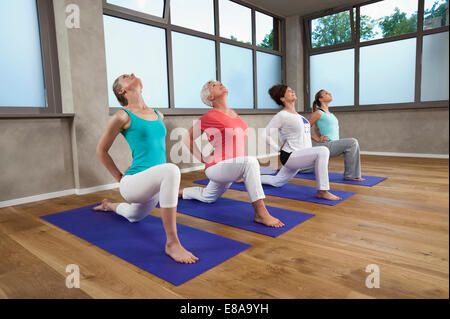 fitness stretching practice group of four beautiful