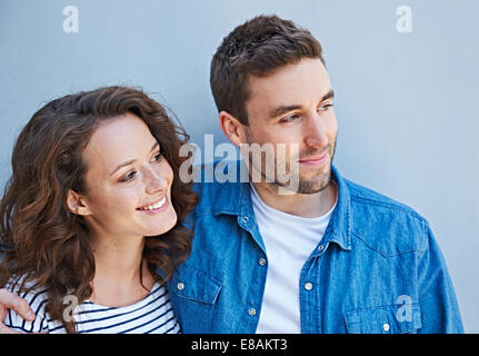 Close up of couple side by side - Stock Photo