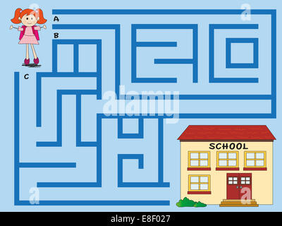 Easy maze for small children - Stock Photo