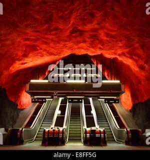 Subway escalator, Stockholm, Sweden - Stock Photo