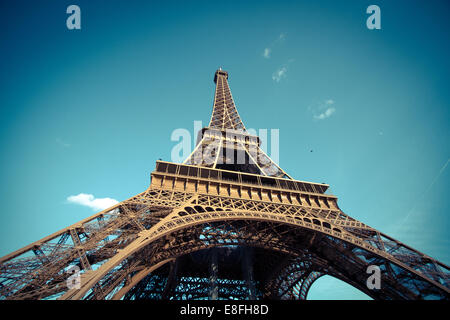 Low-angle view of Eiffel Tower, Paris, France - Stock Photo