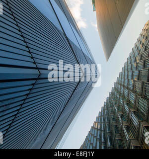 Low angle view of office buildings, London, England, UK - Stock Photo