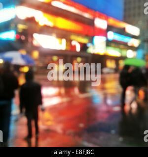 USA, New York State, New York City, Abstract urban street scene - Stock Photo