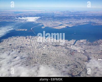 USA, California, San Francisco, Downtown San Francisco and Oakland bay bridge from above - Stock Photo