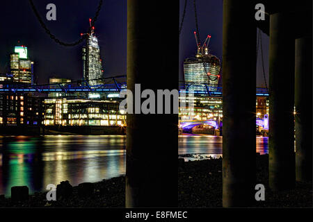 United Kingdom, England, London, Cityscape with Tower 42, Leadenhall Building, Walkie Talkie, Millennium Bridge - Stock Photo
