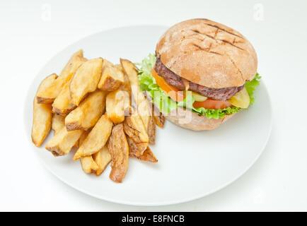 Hamburger and wedge cut fries - Stock Photo