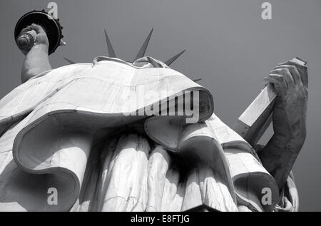 USA, New York State, New York City, Statue of Liberty viewed from below - Stock Photo