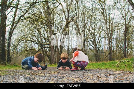 Three ( 2-3, 4-5 ) children playing in countryside - Stockfoto