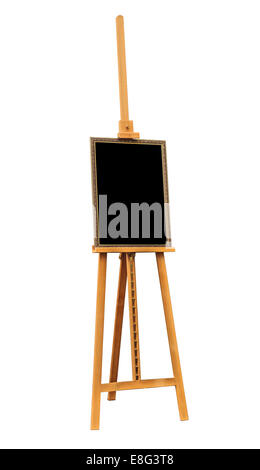 Blank painting and wooden easel isolated on white background - Stock Photo