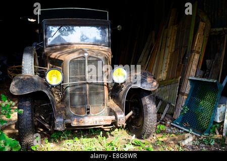 An old Renault van sits in a shed with timber stacked beside it - Stock Photo