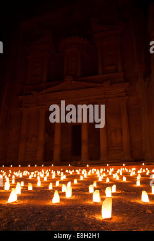Jordan, Petra, Candles in front of Al Khazneh, the Tresury, at night - Stock Photo