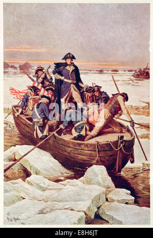 General George Washington Crossing the Delaware River 25 December 1776. See description for more information. - Stock Photo