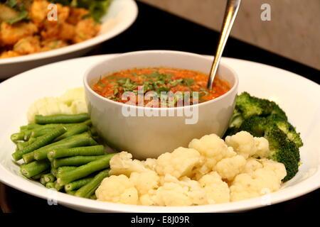 Spicy Chili Paste (Nam Prik) with vegetables, thai cuisine. - Stock Photo