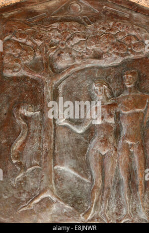 Basilica of the Annunciation. Adam and Eve. The forbidden fruit. - Stock Photo