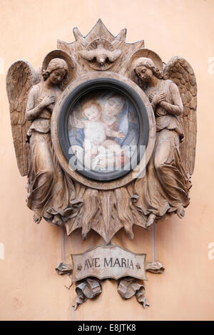 Virgin Mary and two angels. - Stock Photo
