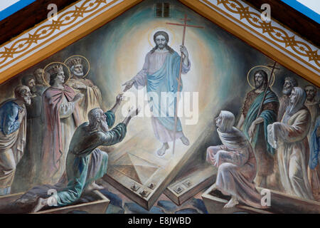 Russian orthodox church.  Christ, surrounded by mandorla, helps Adam and Eve. - Stock Photo