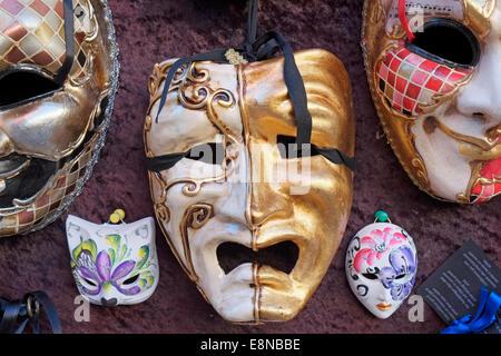 Venetian carnival masks for sale in Venice, Italy. - Stock Photo