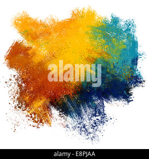 Colorful paint splash on watercolor paper background - Stock Photo