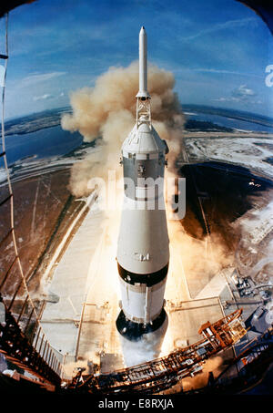 On July 16, 1969, the huge, 363-feet tall Saturn V rocket launches on the Apollo 11 mission from Pad A, Launch Complex - Stock Photo