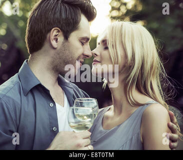 Moment before the romantic kiss on the date - Stock Photo