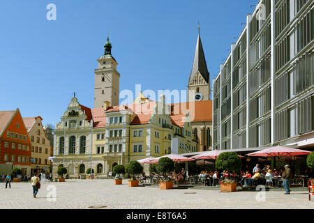 Old Town Hall with Pfeifturm, tower of the parish church of St. Moritz, New Town Hall, town hall square, Ingolstadt - Stock Photo