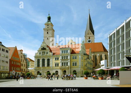 Old and New Town Hall, town hall square, Ingolstadt, Upper Bavaria, Bavaria, Germany - Stock Photo