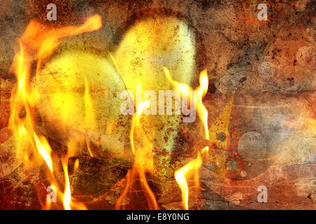 heart in fire - Stock Photo
