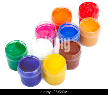 jars with colored gouache - Stock Photo
