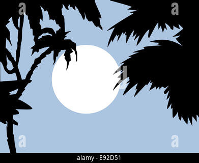 tropical landscape with palm on foregrounds - Stock Photo