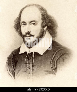 William Shakespeare (1564–1616), English Poet, Playwright and Actor, Widely Recognized as Greatest Dramatist, Portrait - Stock Photo