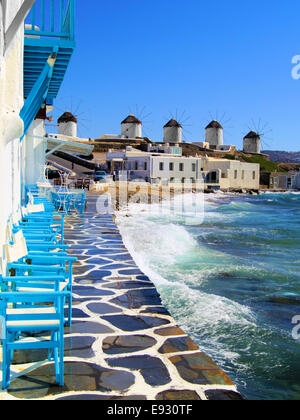 View of the famous windmills of Mykonos town, Greece - Stock Photo