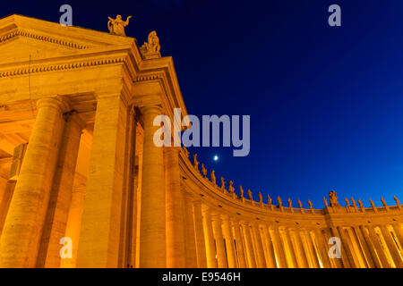 Gian Lorenzo Bernini colonnade of St. Peter's Square, Piazza San Pietro, Vatican, Vatican City, Rome, Italy - Stock Photo