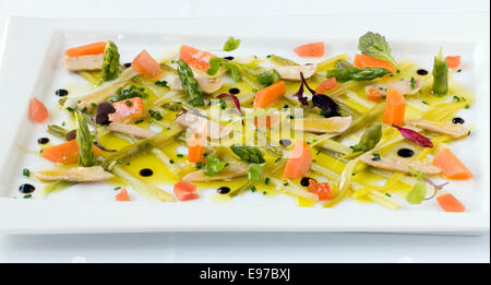 Fresh vegetables and Tuna fish with olive oil and vinegar, as served at the Venta Moncalvillo restaurant in Rioja - Stock Photo