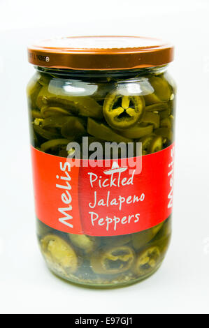 Jar of pickled Jalapeno Peppers. - Stockfoto