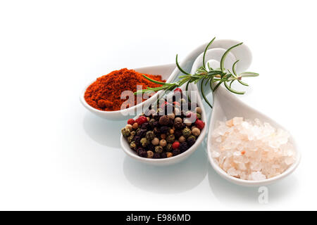 Himalayan rock salt, red cayenne pepper and black peppercorns in ceramic spoons with a sprig of fresh rosemary for - Stock Photo