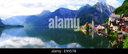 Hallstatt, Austria panoramic view with Alps and lake - Stock Photo