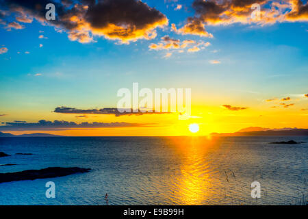 Sunset, over the Point of Sleat, Skye, Inner Hebrides, Scotland - Stock Photo