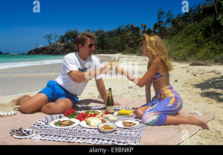 Honeymooners share a pre-lunch toast on their own private beach at Turtle Island, Fiji. - Stock Photo