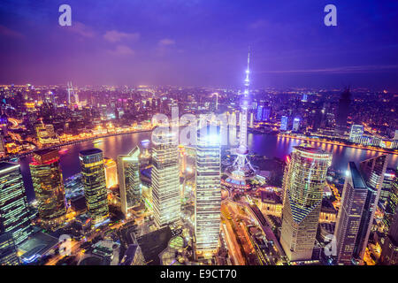 Shanghai, China City Skyline view over the Pudong Financial District. - Stock Photo