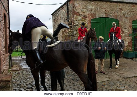 fox hunting woman on horse taking picture with mobile ...